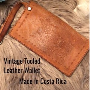 Vintage Tooled Leather Wallet-from Costa Rico